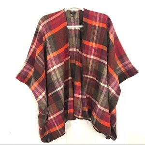 Talbots autumn/winter color plaid sleeves cape